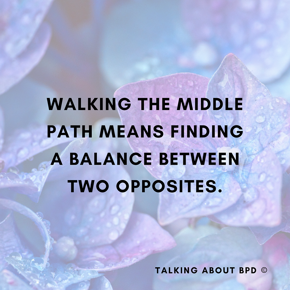 Purple background. Text reads: Walking the middle path means finding a balance between two opposites.