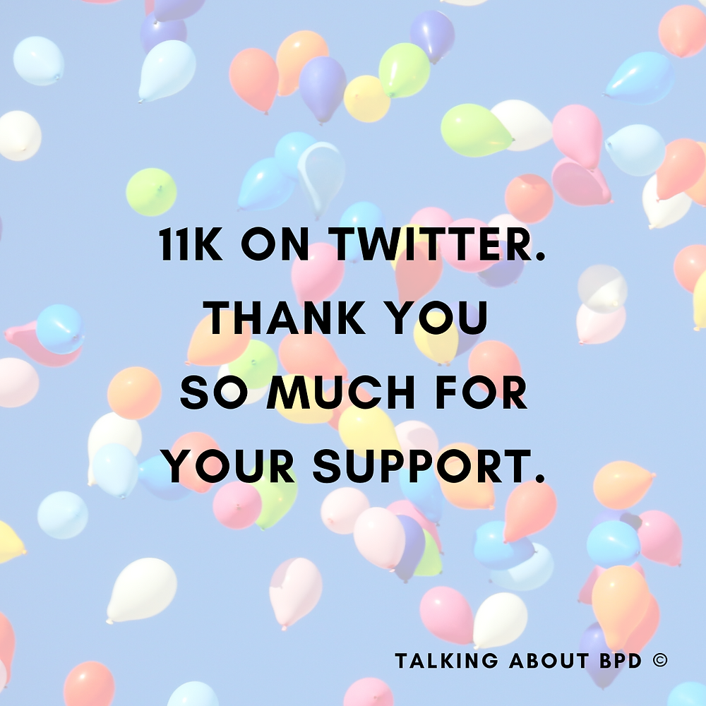 11K on Twitter. Thank you so much for your support. Background is balloons on a blue sky.