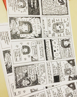Folding up my zines & comics to sell at