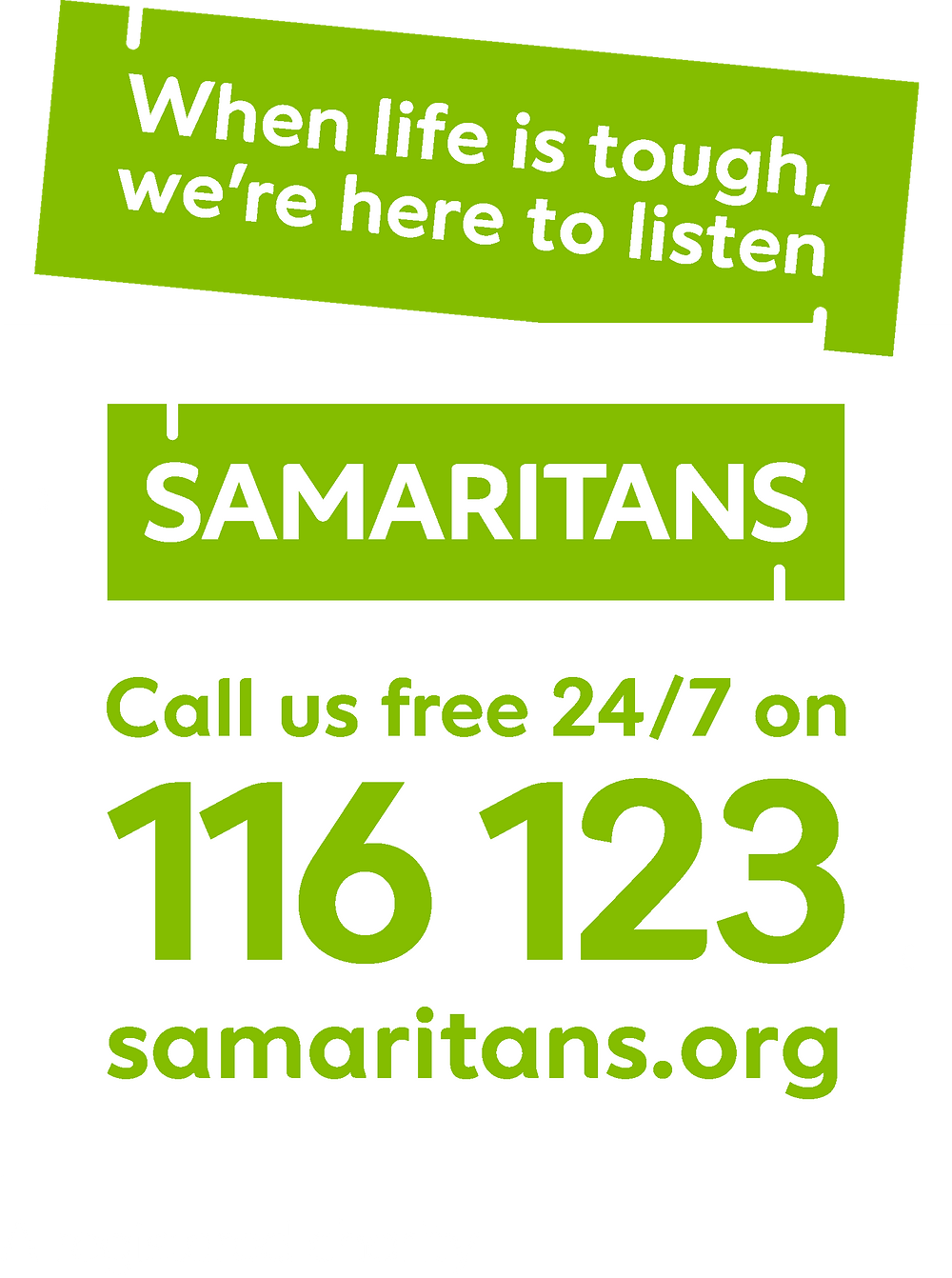Samaritans Call Us free 24/7 on 116 123
