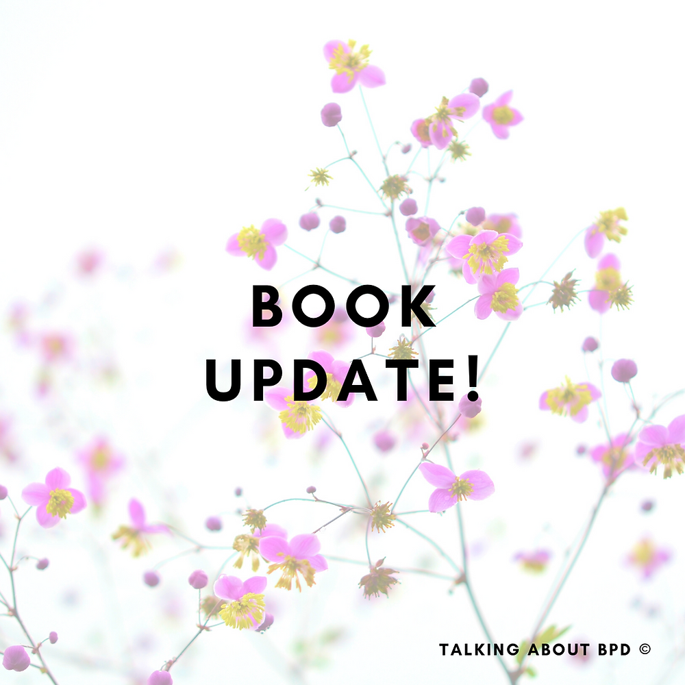 pink flowers in the background and text reads 'book update'