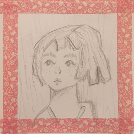 little sketch of WWII evacuee framed wit