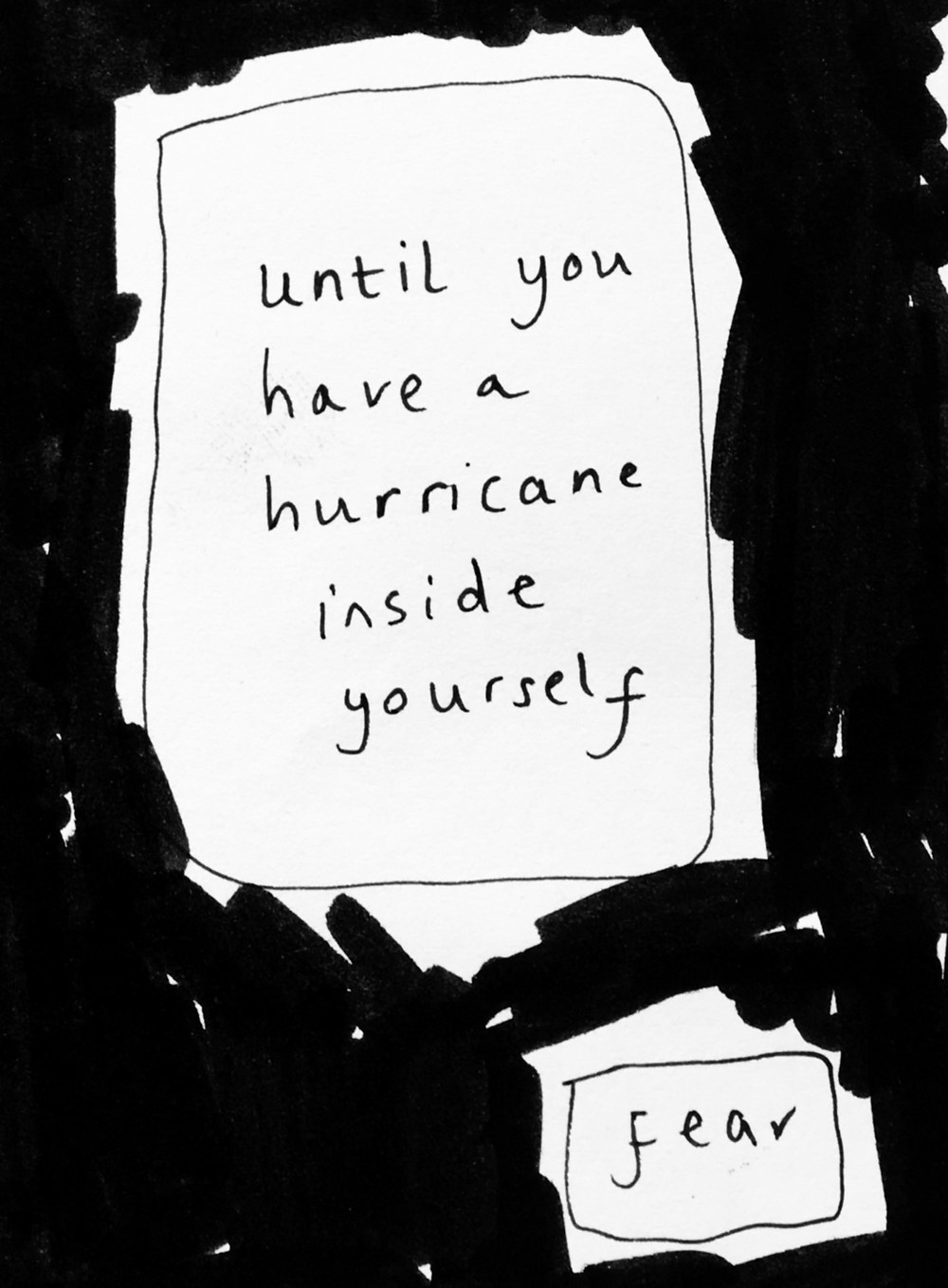 Image from one of my zines stating 'until you have a hurricane inside yourself' and 'fear'.