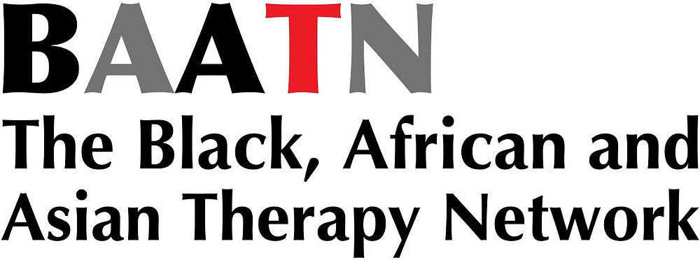 The logo of the Black, African and Asian Therapy Network featuring these words and the acronym BAATN in black, grey and red