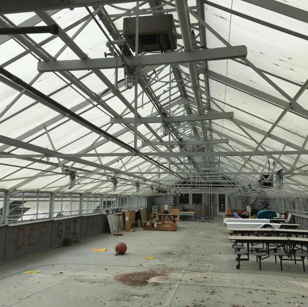 Interior of the greenhouse before it was deconstructed