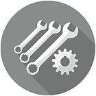 Icona officina meccanica in grigio