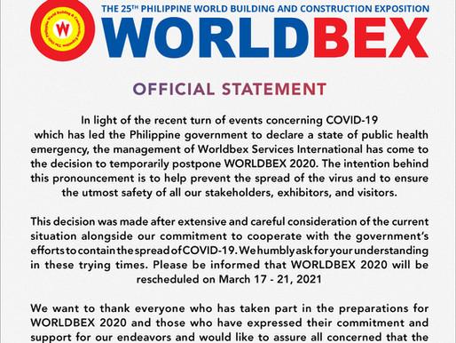 Worldbex Services International Announces Postponement of WORLDBEX and MIAS 2020