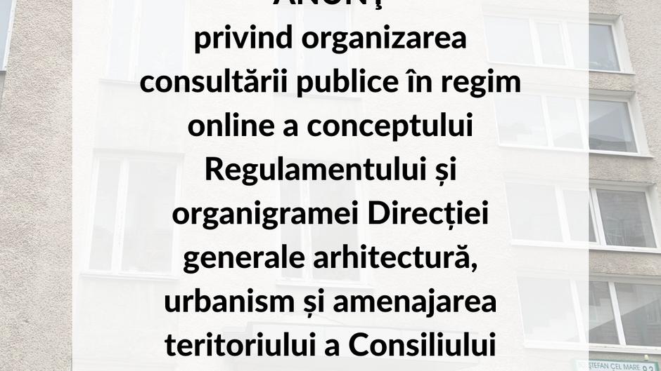 ANUNŢ privind organizarea consultării publice