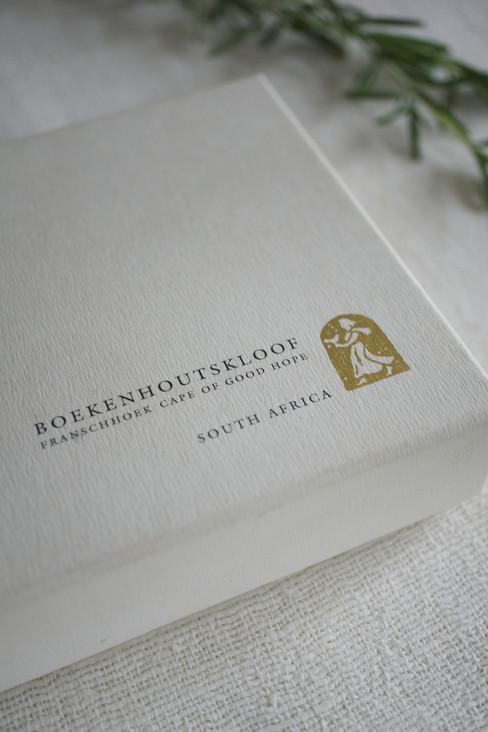 Boekenhoutskloof wine portfolio box. Concept, design and print production.