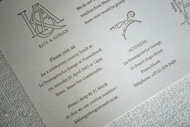 Wedding invitation and menu card design. Monogram, design and print production.