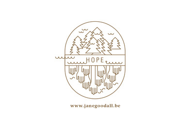 Jane Goodall HOPE logo for Jane's 80th birthday event in Belgium to raise money and awareness for the important work they are doing in planting more forests.