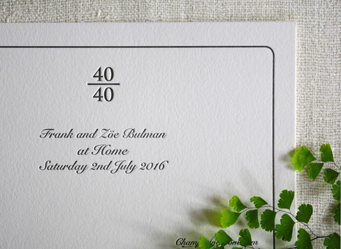 40th Birthday invitation for a husband and wife both turning 40 over the wimbledon tennis. Concept and invitation design as well as print production.