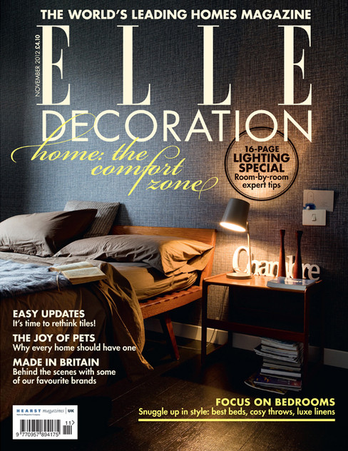 ELLE Decoration UK magazine cover design, page layout and art direction.