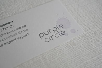 Purple circle wine import & export, Belgium. Name generation, branding and print production.