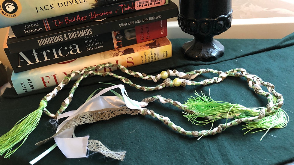 Green, Brown and White Handfasting Cord