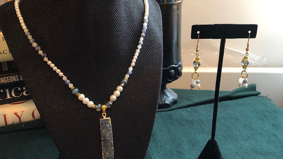 Druzy, Swarovski and Sodalite Necklace and Earring Set