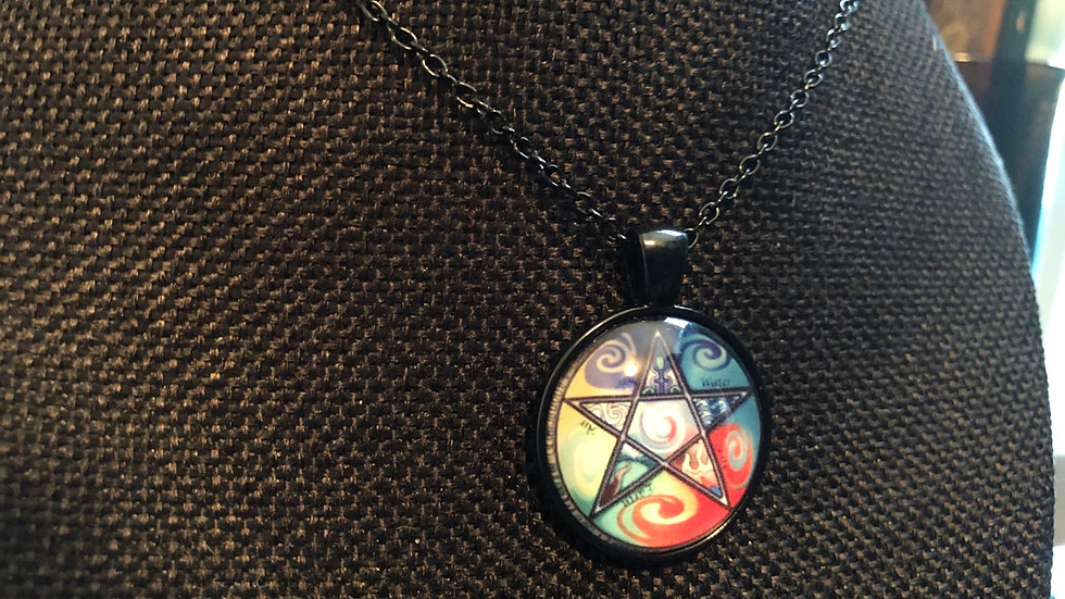 Colorful Pentagram Necklace with Black Chain