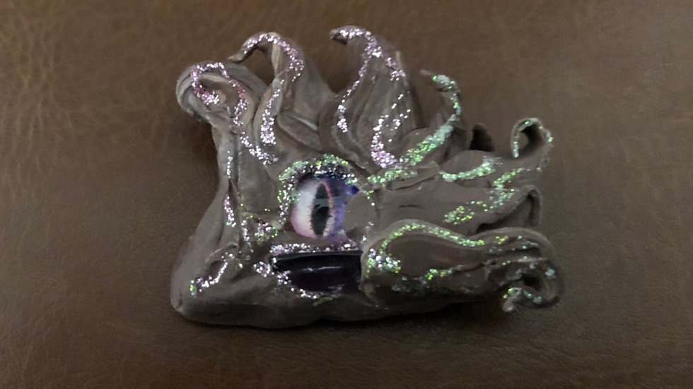 Brown and Silver Dragon's Eye with Glass Center