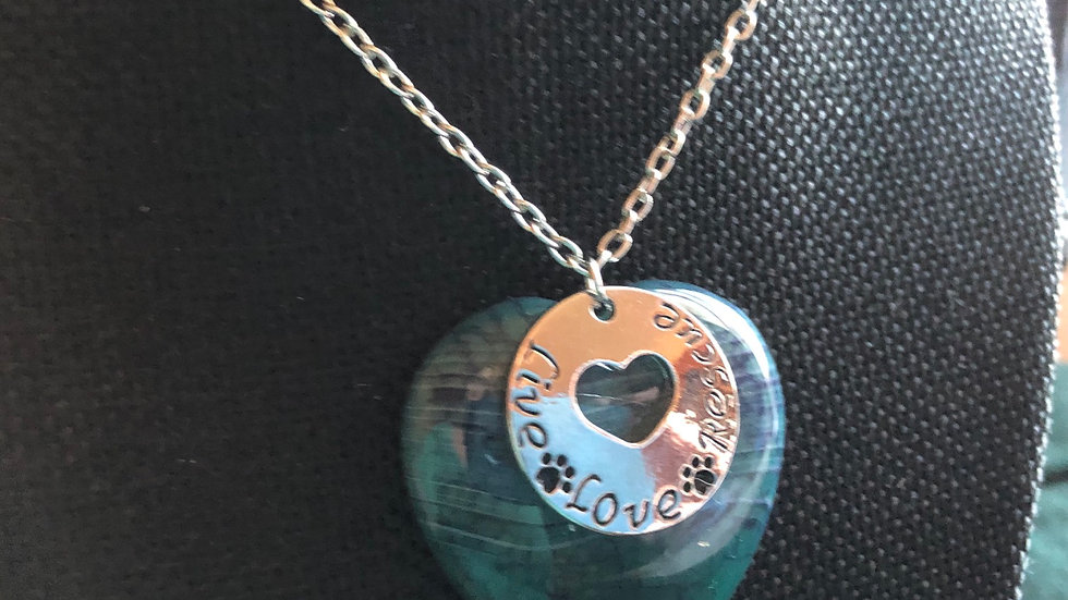 Dragonvein Agate Live, Love, and Rescue Necklace