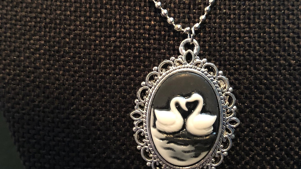 Two Swan Cameo Necklace with chain