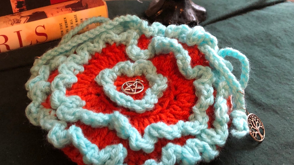 Frilled Knitted Orange and Blue Bag with Pentagram and Tree of Life