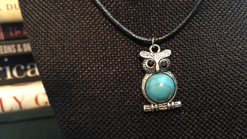 Dyed Howlite Owl Necklace with Black Cord