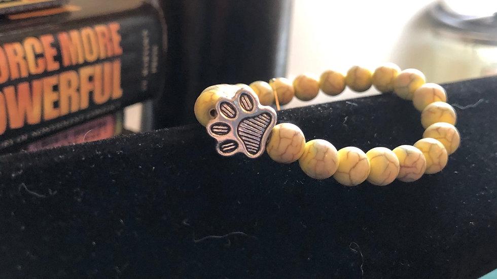 Yellow Dyed Magnesite Beaded Pet Bracelet