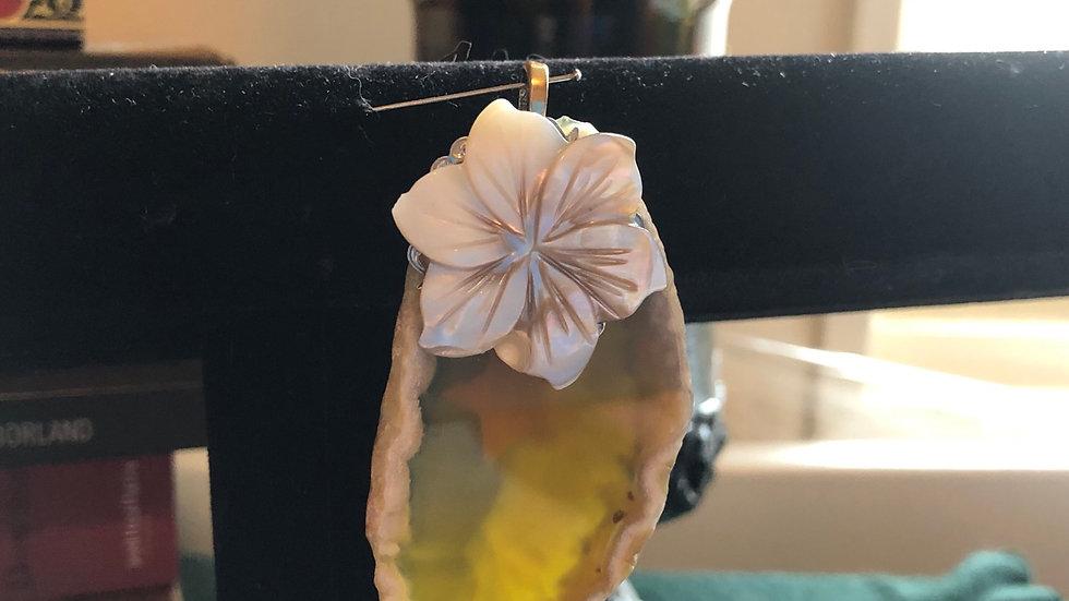 Agate Slice Flower Pendant