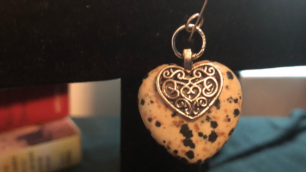 Dalmation Jasper Heart with Heart Charm