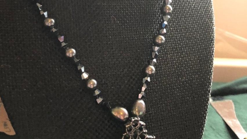 Swarovski Black Crystal Beaded Necklace