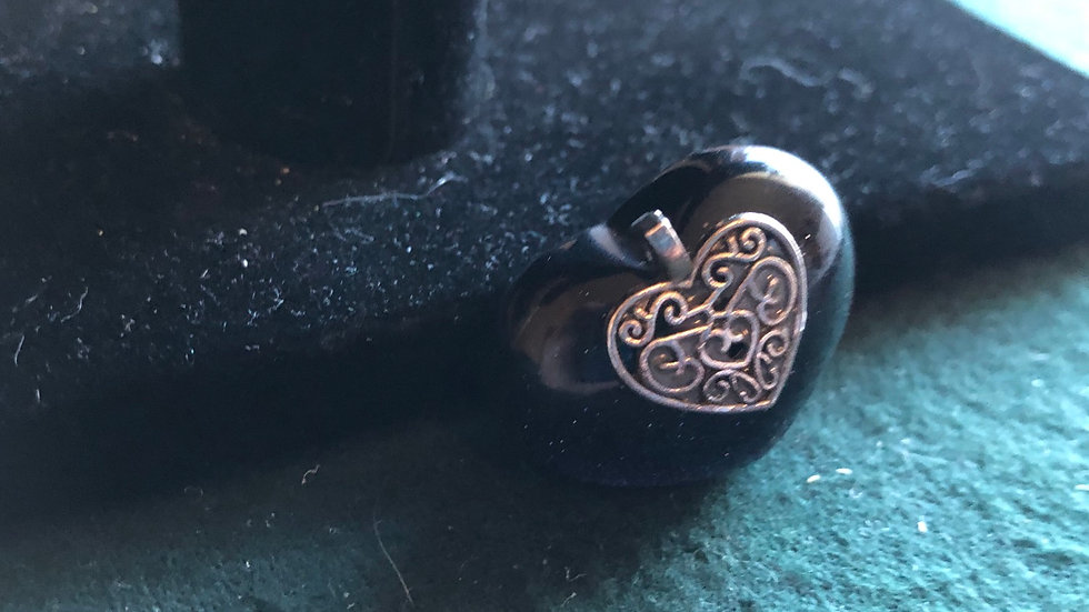 Blue Goldstone Heart with Filligree