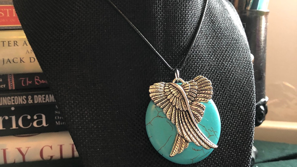 Dyed Magnesite Silver Wings Pendant Necklace
