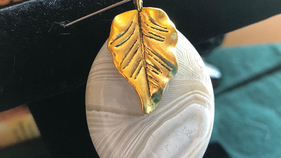 Dyed Banded Agate Leaf Pendant