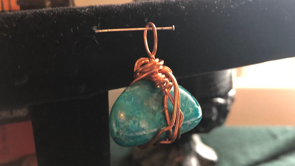 Copper Wrapped Chrysocolla Pendant