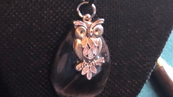 SIlver Owl on black moonstone necklace