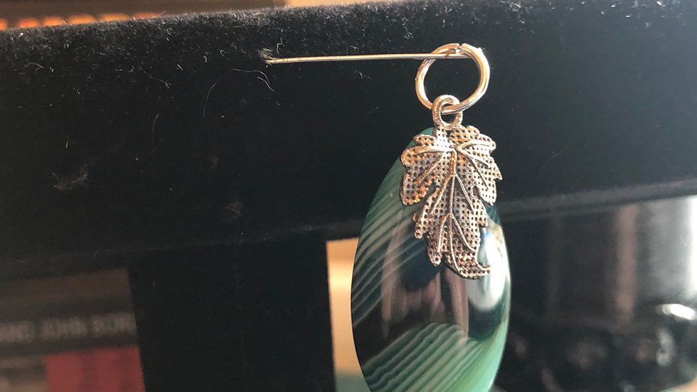 Dyed Agate Leaf Pendant
