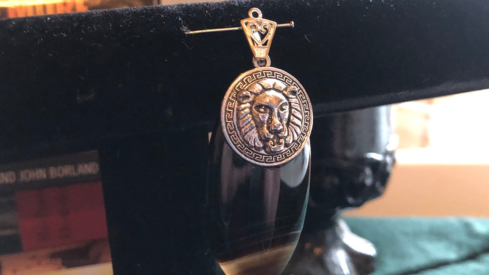 Banded Agate Lion Pendant