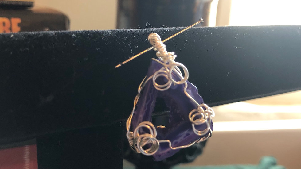 Purple Droozy Wirewraped Charm