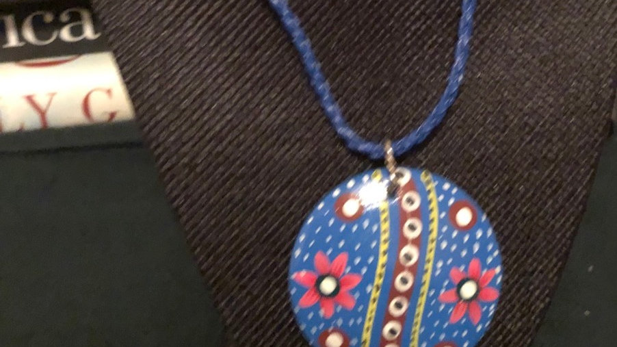 Blue Fiesta Painted Clay Pendant