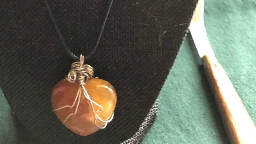 Hand-wrapped Carnelian Heart Necklace