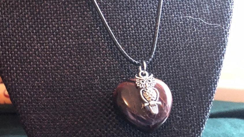 Silver Owl on Tiger's Eye heart