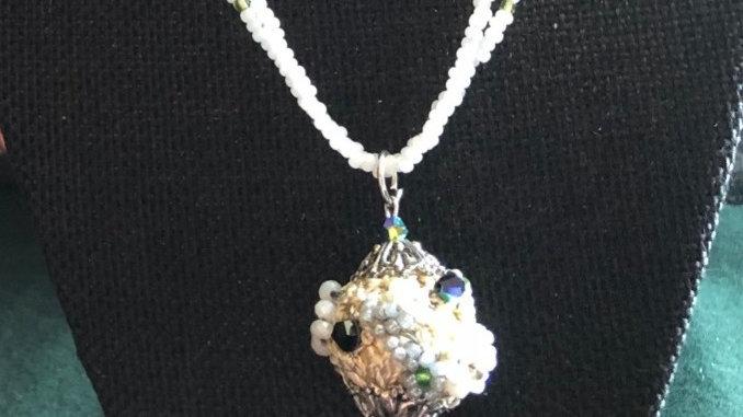 Seedbead Crocheted Beaded Egg Necklace