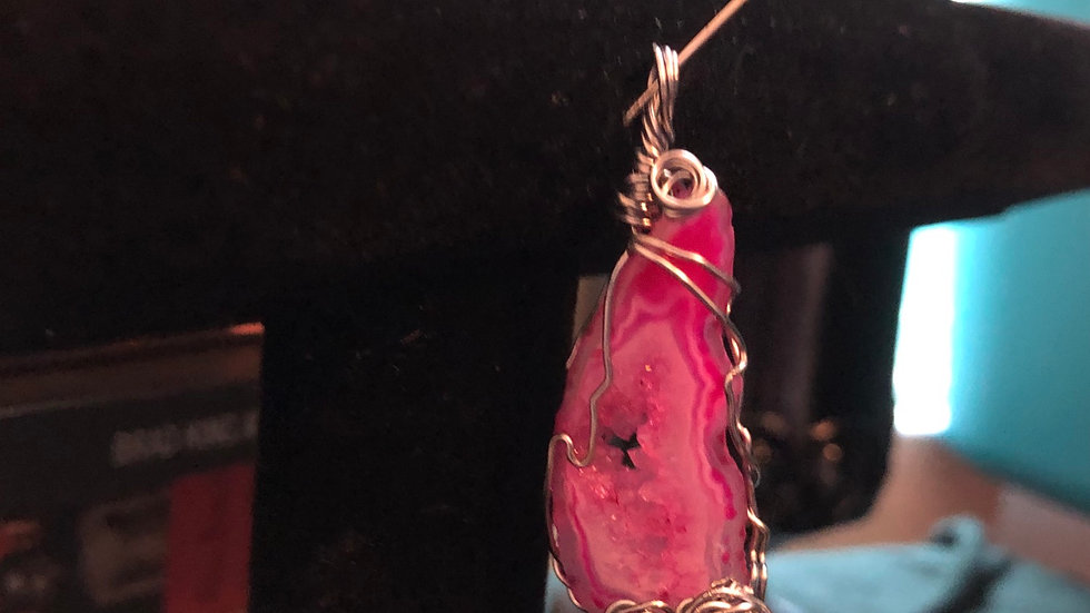Pink Drozy with Wirewrapped Pendant