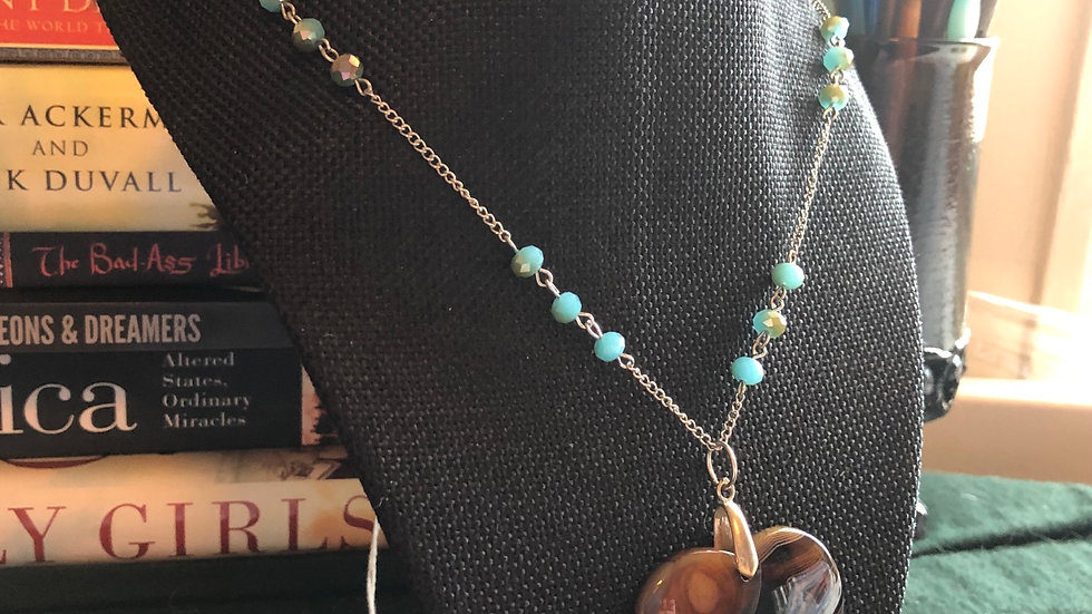 Beaded Heart Agate Necklace