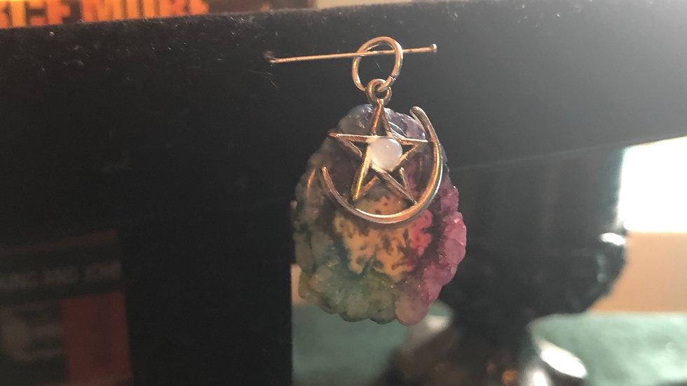 Dyed Agate Pentagram Pendant