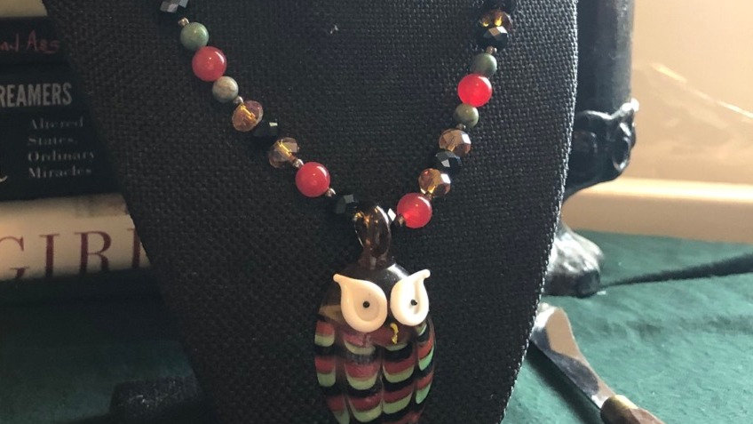 Beaded Glass Owl Necklace