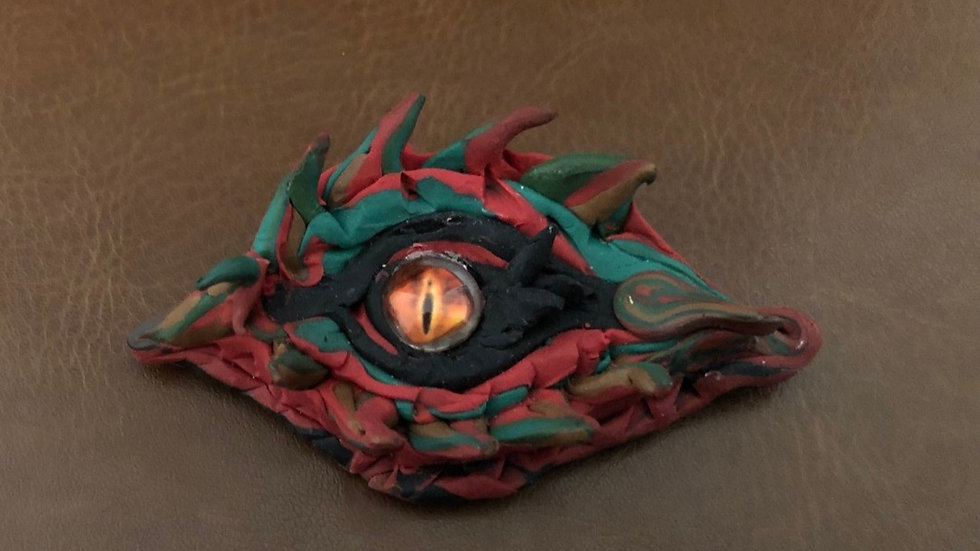Red, Green and Black Dragon's Eye with Glass Center