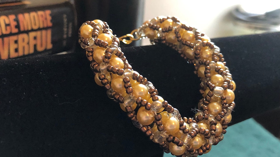Pearl and Brown Bead Bracelet