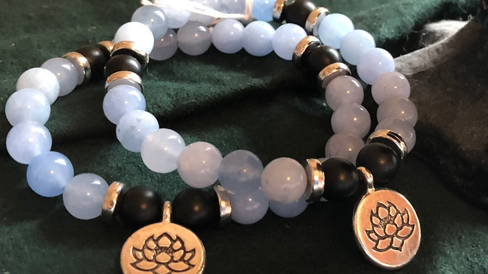 Aquamarine Beads with Lotus Charm