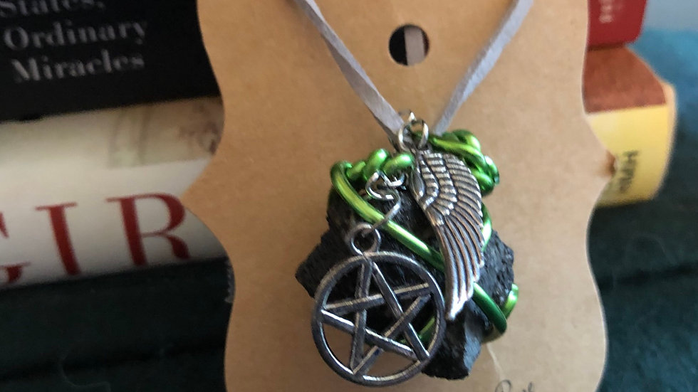 Green Wire Asphaltia wth Wing and Pentagram